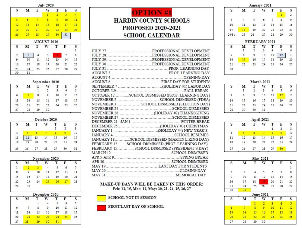 HCS SEEKS INPUT ON 2020 21 PROPOSED SCHOOL CALENDAR   Hardin