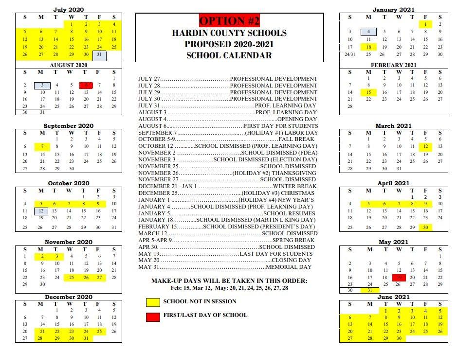 Hardin County School Calendar 2021 Images